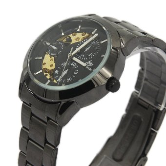 Automatic Mens Skeleton Mechanical Black Steel Band Wrist Watch 000012 Black