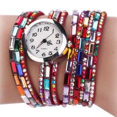 AZONE Women Synthetic Leather Strap Bracelet Wristwatch (Red)
