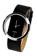 AZONE Women's Faux Leather Fashion Quartz Wrist Watch Transparent Dial (Black)