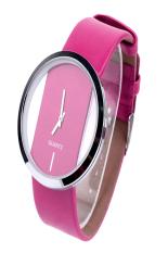 AZONE Women's Faux Leather Fashion Quartz Wrist Watch Transparent Dial (Pink)