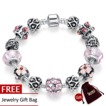 BAMOER Vintage 925 Silver Strand Bracelet With Flower Charm & Beads Fashion Pulseira Jewelry PA1449