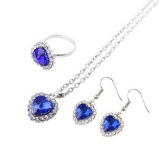Befu Distinguished & Artistic Sapphire-like Rhinestone Ring & Earring & Necklace Set - intl