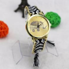 BEST Jam Geneva Rajut Anyam Bohemia Vintage Indian Korea Style Watch - HITAM GAJAH