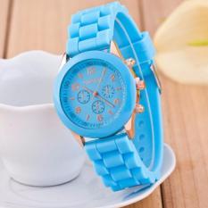 Best Jam Tangan Silicone Jelly Quartz Wrist Watch Silikon Jely Geneva Rubber Karet - BIRU MUDA