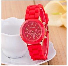Best Jam Tangan Silicone Jelly Quartz Wrist Watch Silikon Jely Geneva Rubber Karet - Merah