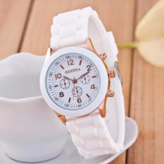 Best Jam Tangan Silicone Jelly Quartz Wrist Watch Silikon Jely Geneva Rubber Karet - PUTIH