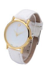 Best Selling Items In Fashion Jewelry Classic Casual Watch PU Leather Watch Quartz Watch For Women (White And Gold)