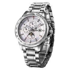 Bestdon 7108G Men's Sport Waterproof Stainless Steel Band Luminous Pointer Auto-Mechanical Watch W / Calendar - Silver + White