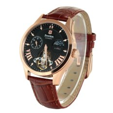 Bestdon BD7113G Men's Automatic Mechanical Tourbillon Moonphase Watch W / Luminous Pointer - Rose Gold + Black + Brown (Intl)