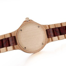 Bewell Brand Luxury Auto Date Red Color Maple Wood Watches Men Fashion Retro Wooden Quartz Watch (Intl)