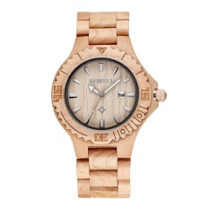 Bewell Brand Luxury Auto Date White Color Maple Wood Watches Men Fashion Retro Wooden Quartz Watch (Intl)