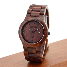 BEWELL High-quality Brand Fashion Wood Quartz Watch Water-resistant Luminous Men Women Red Sandalwood Wooden Casual Wristwatch With Calendar - Intl