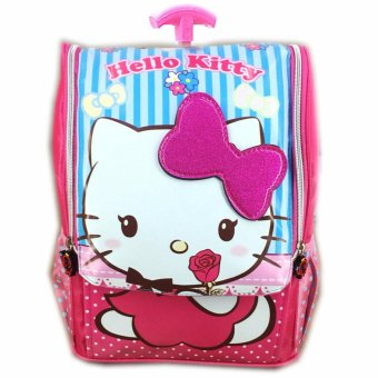 BGC Tas Troley Sekolah Anak TK Hello Kitty Ribbon 3D Timbul - Full Motif Kitty