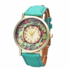 Bigskyie Pastorale Floral Women Leather Band Analog Quartz Dial Wrist Watch Green