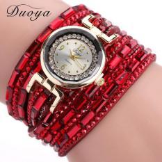Bigskyie Women Luxury Crystal Women Gold Bracelet Quartz Wristwatch Rhinestone Watches Red Free Shipping