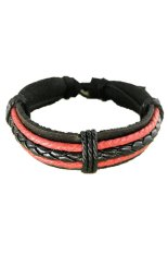 Black And White Leather Rope Multi Layer Cuff Bracelet Bangle Men Boy Gift New