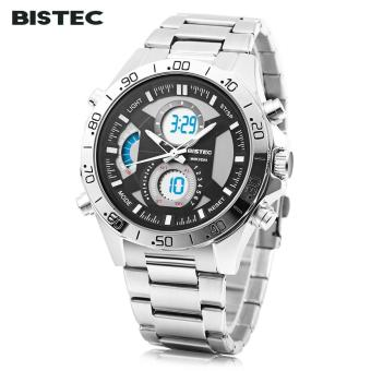 [BLACK] BISTEC 211 Male Dual Movt Outdoor Watch Alarm Chronograph LED Men Sport Wristwatch - intl