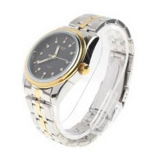 Black Dial Men Diamond Jewelry Gold Plated Quartz Watch with Date Display / Stainless Watchband