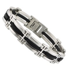 Black Silicone With Silver Color Stainless Steel Bracelet Bangle For Men - Intl