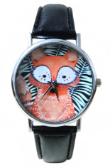 Blue Lans Unisex Stripe Fox Dial Faux Leather Analog Quartz Wrist Watch Black