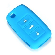 Blue Soft Silicone Remote Flip Key Fob Case Shell Cover 3 BTN For VW Seat Skoda