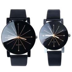 Bluelans® 1 pasang pria wanita Stainless Steel imitasi kulit jam Tangan Olahraga kuarsa Gaun Hitam