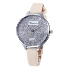 Bluelans® Candy Color Faux Leather Slim Band Glitter Dial Shiny Rhinestone Women Watch (Beige) - intl