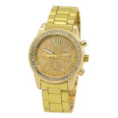 Bluelans Geneva Women's Men's Roman Number Crystal Analog Quartz Wrist Watch Golden (Intl)