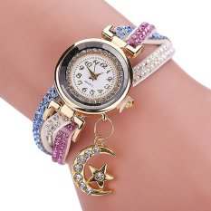 Bluelans® Jam Tangan Wanita Batu Permata - Strap Kulit Imitasi - Putih