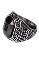 Bluelans® Kekasih Pria Antik Ukiran Geometris Damar Paduan Cincin Perhiasan (Hitam)