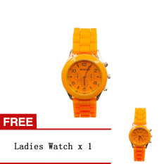 Bluelans Lover Women's Men's Silicone Jelly Gel Quartz Analog Wrist Watch Orange [Buy 1 Get 1 Free]