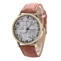Sanwood Men's Women's Retro Denim Strap Casual Quartz Wrist Watch Coffee (Intl)
