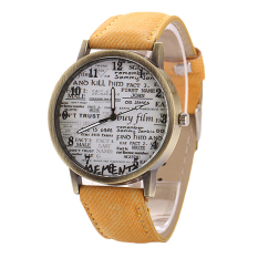 Sanwood Men's Women's Retro Denim Strap Casual Quartz Wrist Watch Yellow (Intl)