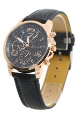 Bluelans Men's Women's Faux Leather Analog Quartz Dress Wrist Watch Black