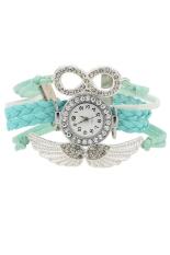 Bluelans Rhinestone Women's Light Blue Faux Leather Angel's Wings Bracelet Wrist Watch