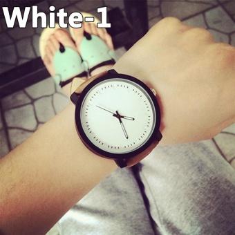 Bluelans Stylish Women Men Couple Faux Leather Watch Quartz Analog Wristwatch Nice Gift (White) - intl