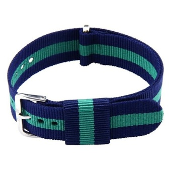 Bluelans Unisex Striped Canvas 20mm Wrist Watch Band Strap - Blue & Green