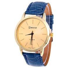 Bluelans Women Men Geneva Golden Tone Faux Leather Analog Quartz Wrist Watch Blue