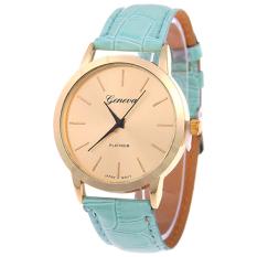 Bluelans Women Men Geneva Golden Tone Faux Leather Analog Quartz Wrist Watch Light Green