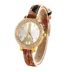 Sanwood Women's Effiel Tower Slim Faux Leather Band Wrist Watch Type 5 (Intl)