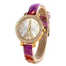 Sanwood Women's Effiel Tower Slim Faux Leather Band Wrist Watch Type 6 (Intl)