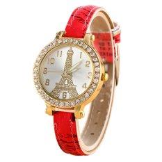 Sanwood Women's Effiel Tower Slim Faux Leather Band Wrist Watch Type 1 (Intl)