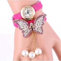 Bluelans Women's Fashion Rhinestone Butterfly Faux Pearl Pendant Bracelet Wristwatch Watch Fushcia