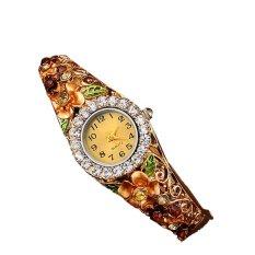 Sanwood Women's Flower Crystal Hollow Bangle Quartz Watch Jewelry Gold (Intl)