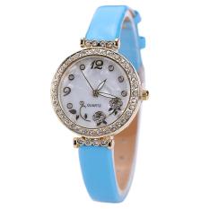 Bluelans Women's Flower Rhinestone Faux Leather Strap Quartz Wristwatch Sky Blue (Intl)