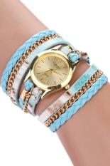 Bluelans Women's Leopard Wrap Faux Leather Analog Quartz Watch (Blue)