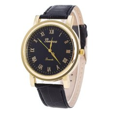 Bluelans Women's Men's Black Band Black Dial Roman Number Faux Leather Quartz Watch