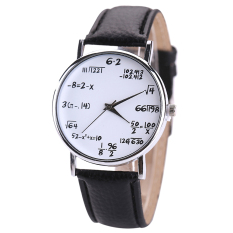 Bluelans Women's Men's Black Strap White Dial Math Formula Leather Quartz Wrist Watch