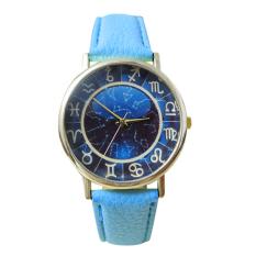 Bluelans Women's Men's Dark Blue Dial Faux Leather Quartz Analog Watch (Lake Blue)