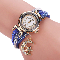 Bluelans Women's Moon Star Rhinestone Faux Leather Wrap Bracelet Watch Blue (Intl)